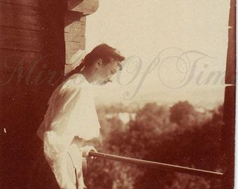 Vintage Photo - Romantic photo - Woman Photo - Vintage Snapshot - Polish Photo - 1930s photo - Woman in white dress - Artistic photo