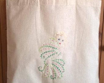 Burlseque, pin up, vintage, glamour, hand embroidered recycled cotton tote bag