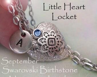 Little Heart Locket September Birthday Personalized w-Swarovski Birthstone and Letter Charm, September Birthday Gift, September Birthstone