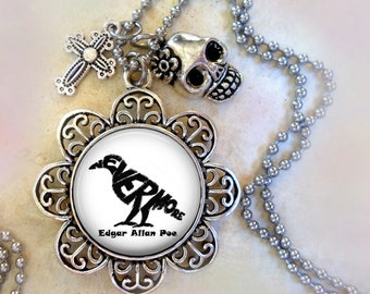Poe Raven Nevermore Necklace w-Cross and Skull Charms, Edgar Allan Poe Fan Gift, Lenore, Gothic Gift, Birthday Gift
