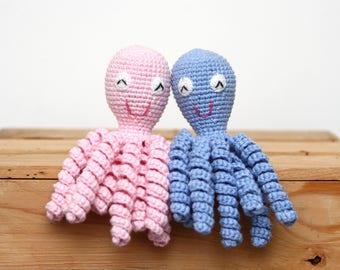 Crochet Preemie Octopus Amigurumi - Baby Shower Gift Idea - Mini Octopus Preemie Newborn Lovey - 100% Cotton Any Color Made to Order