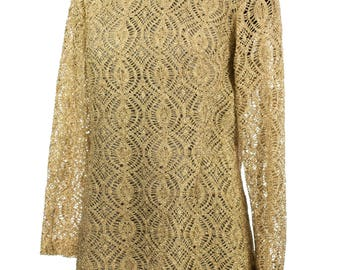 Vintage 1960's Shimmery Gold Lace Silk Mini Dress
