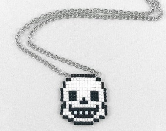 Undertale Sans Necklace - Undertale Necklace Pixel Necklace Sans Head Necklace Video Game Necklace 8bit Jewelry Geeky Gifts Anime Necklace