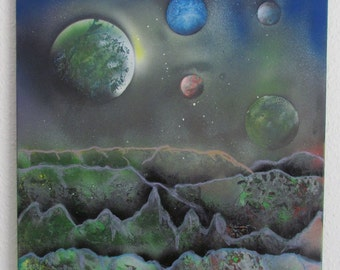 """Abstract acrylic painting """"Alien planet 2"""" 50x50cm"""