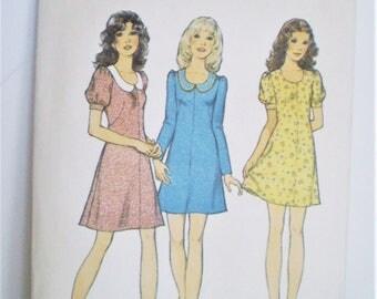 Retro 1970s Style 3954 Mini Dress Pattern Size 14 - baby doll dress, scoop neck, puffed sleeves, low neckline, A-line dress, Summer wear