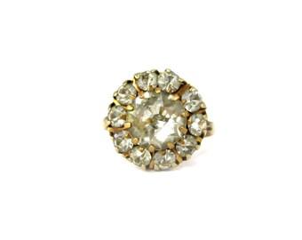 Stunning Antique Gold Fill Rhinestone Ring