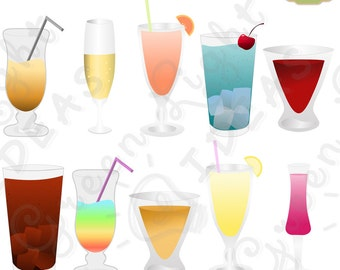Drinks Clipart, Party Drinks Clipart, New Year Cocktails Clipart, Commercial Use Clipart, Party Cocktails Graphics, Drinks Illustrations PNG