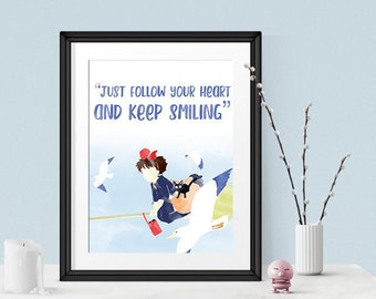 Kiki's Delivery Service Art Print, Studio Ghibli Art, Studio Ghibli Quote, Anime Quote, Studio Ghibli Decor, Ghibli Gift, Anime Fan Gift