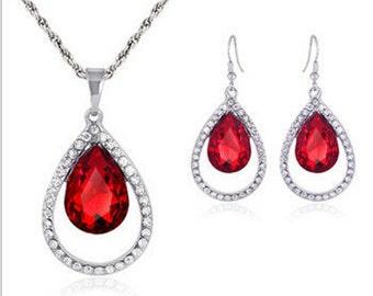 Red Austrian Crystal & Diamante Jewellery Set NK4040i