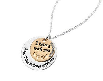 Gorgeous Two Tone Dual Charm Pendant With Love Song Lyrics Engraved Necklace NK4051j
