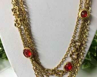 A Beautiful Vintage Gold Tone and Red Stone, Multi Strand Chain Necklace
