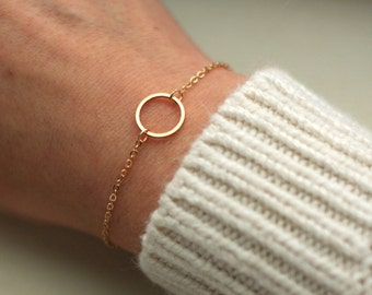 Dainty Open Circle Bracelet - Circle Pendant Bracelet - Gold Circle Charm- Layering Bracelet - Friendship Bracelet - Layered Luxe Jewelry