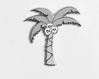 Skull-conut Palm Tree Enamel Pin Gray and White