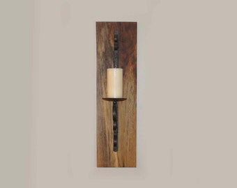Home Decor, Wall Art, Farmhouse Decor- Set Of Metal Candle Sconces On Walnut Boards