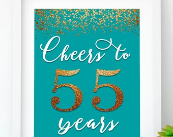 INSTANT DOWNLOAD, Cheers to 55 Years turquoise 55th birthday decor gold 55th birthday banner 55th printable party 55th anniversary sign