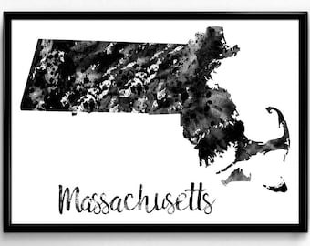 Map of Massachusetts, United States of America, Black and White Map, Travel, Watercolor, Room Decor, Poster, gift, Print, Wall Art (754)