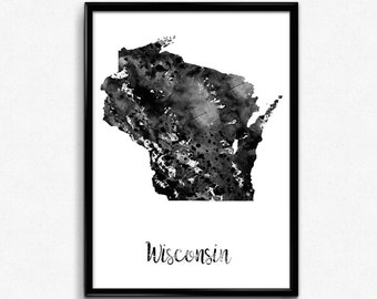Map of Wisconsin, United States of America, Black and White Map, Travel, Watercolor, Room Decor, Poster, gift, Print, Wall Art (782)