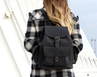Black Leather Backpack 3 pockets LARGE, leather rucksack, hipster backpack
