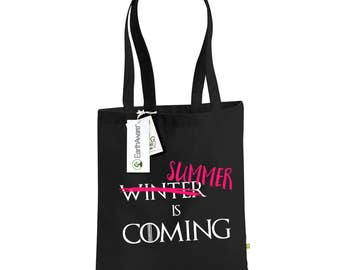 "Game of Thrones ""Summer is Coming"" 100% Organic Cotton Tote Bag, You Can Choose From 3 Print Colours. Canvas Shopping Bag"