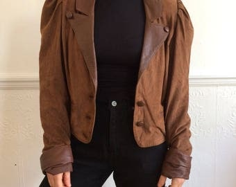Brown cropped jacket | Etsy