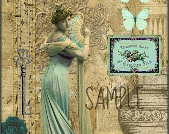 VINTAGE LADY, Collage Altered Art Ephemera Altered Art, Instant Download, Digital Original Sheet