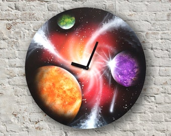 Space clock Galaxy wall clock home decor art clock texture art clock striped wall clock textures clock spray paint art on clock art painting