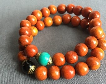 ife - wood and brass beaded bracelet
