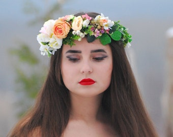 Floral crown Wedding flower Flower crown Bridal hair wreath Floral head wreath Flower Girl Boho wedding Flower halo bohemian flower crown
