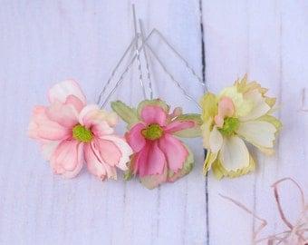 Wedding Hair Pins Bridesmaid Hair Pins Bridal Hair Accessories Flower hair pins Bridal flower hair clip Boho Wedding Gift for her Hair pins