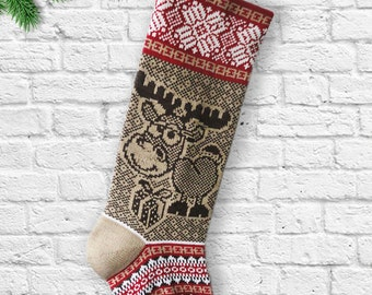 Knit Christmas Stocking,Baby Reindeer, Present, Knit Christmas Sock, Snowflakes, Brown, Red, Gifts, Long Christmas Stockings