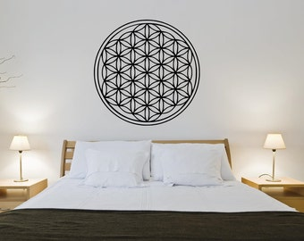 Flower of life wall decal - Sacred geometry wall art - Flower of life geometric wall sticker - Seed of life vinyl decal - Flower of life art