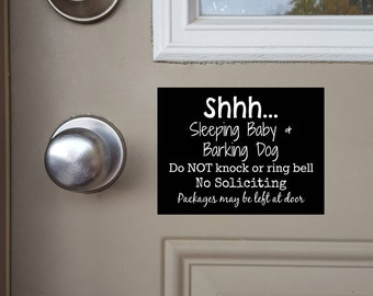 Sleeping Baby and Barking Dog Sign, Sleeping Baby Magnet, Barking Dog Door Sign, Do Not Knock, Do Not Ring Doorbell, Leave Packages at Door