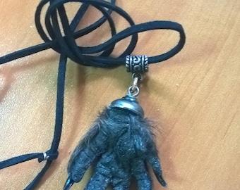 Pendant Necklace Devil's Paw Embalmed animal paw