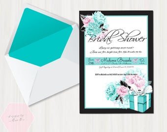 Breakfast at Tiffanys Bridal Shower Invitation, Audrey Hepburn Invite, Tiffany Baby Shower Invite, Breakfast at Tiffanys Invite