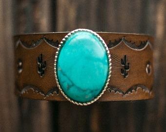 Turquoise Bracelet, Leather Bracelet, Native American Jewelry, Handmade Leather Cuff, Boho Bracelet, Southwestern Jewelry