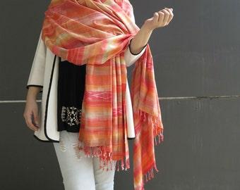 Beautiful orange 100% Handwoven Cotton Scarf
