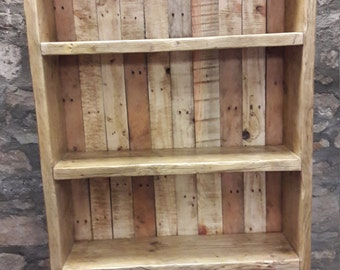 Handmade solid reclaimed wood bookcase shelves rustic