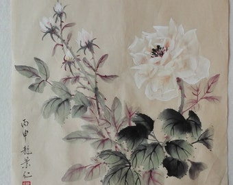Traditional Chinese Painting, Original Painting, China Rose, Flower, Ink watercolor Painting, Living room, Study Decoration, antiqued style