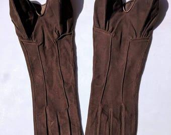 French 1930s-1940s Kidskin Leather Gauntlet Gloves