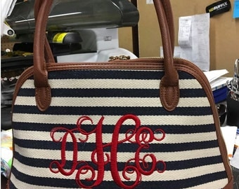 Monogrammed Navy and White Stripe Purse