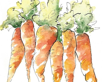 Watercolor Carrots, Carrots painting, Vegetable Illustration, Original Watercolor Painting, 5x7 Kitchen Decor, Pen and Ink, Orange green art