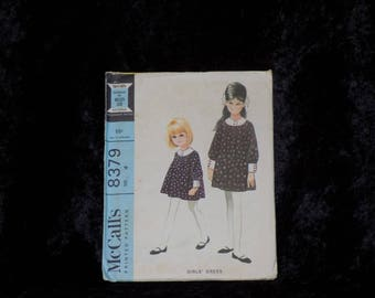 Vintage 1960s McCall's Pattern #8379 Girls Dress Pattern, Vintage Little Girls Dress Pattern, Size 4 UNCUT