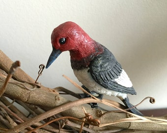 2Pk Red-Headed Woodpecker, Clip On Bird Decorations, Wreath Decoration, Bird Cage Decoration, Birdhouse Decoration
