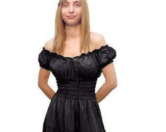 Cd11 Black (Ready To Ship) 100% Cotton Renaissance Medieval Clothing Halloween Costume Pirate Peasant Wench Boho  Dress Chemise Sundress