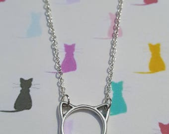 Cat necklace, Cat pendant, Pendant necklace, Kitty, Cat lover, Cat jewellery, Animal, Cat, Cats, Cat ears, Gifts for cat lover