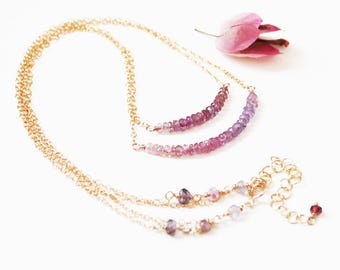 Delicate Pink and Purple Ombre Sapphire Necklace in Gold, Dainty Minimal Double Strand Gemstone Necklace, September Birthstone Jewelry Gift