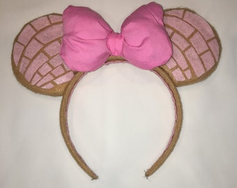 Pink Concha Disney ears headband