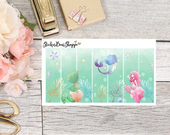 Mermaid Scene Weekly Kit Planner Stickers - For Erin Condren Life Planner