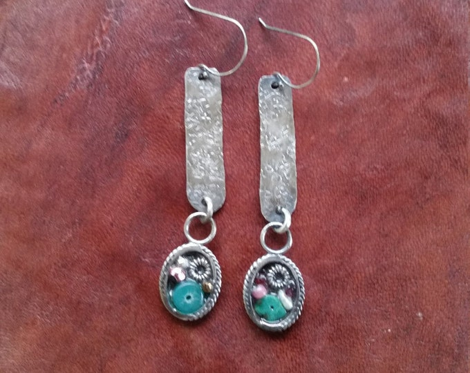 Hand Made and Textured Sterling Silver Drop With Beaded Dangle