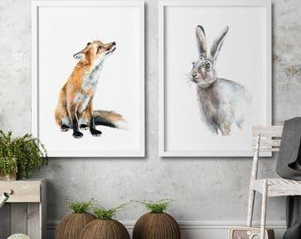 Nursery wall art Set of 2 art prints Fox and rabbit Watercolor painting Animal illustration children room kids home decor nursery home decor